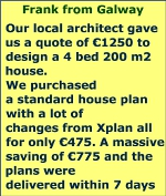 Our local architect gave us a quote of €1250 to design a 4 bed 200 m2 house.